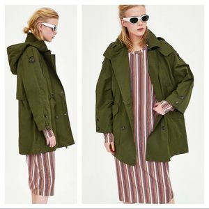 ZARA 2018 Women Hooded Trench Coat Olive Green S